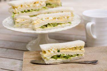 Shaved asparagus, chive and creamed egg sandwiches