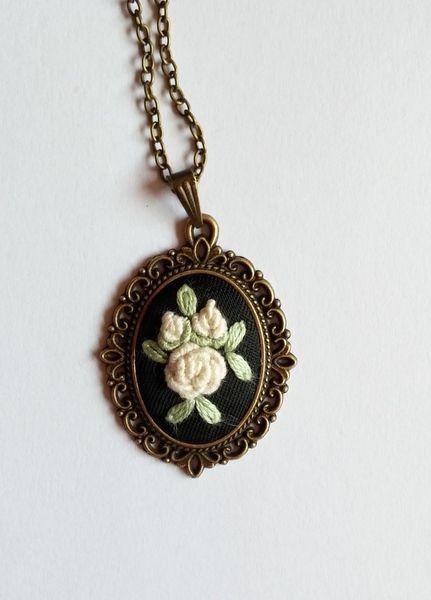 Pendant Necklace, Vintage Bronze Necklace from RedWorkStitches by DaWanda.com