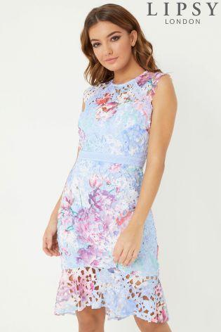 ad62edb19d44 Buy Lipsy Printed Lace Flippy Hem Bodycon Dress from the Next UK online shop