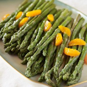 Steamed Asparagus with Tangerines, Love!  Easter Dinner Ideas - Recipes for Easter Dinner from Virginia Willis - Country Living