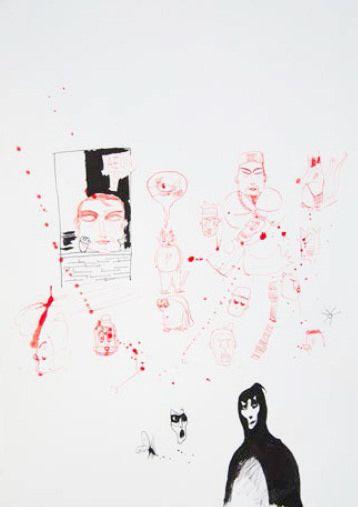 "Dibujo 4, de la serie ""Dunky Draws"".  Artista: Edgar Jiménez, Dibujo 4 de la serie ""Dunky Draws"", Tinta china sobre papel durex, 40 x 55 cm (15.6 x 11.7 inch), 2013,  + PA  Artist: Edgar Jimenez , Drawing 4 of the series "" Dunky Draws "" durex Chinese Ink on paper, 40 x 55 cm ( 15.6 x 11.7 inch) , 2013 , + PA  #art #arte #contemporaryartwork #pintura #paint #bac #dibujo #drawing"
