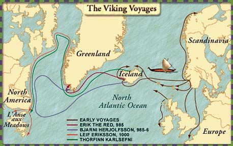 Map of Leif Ericson travels