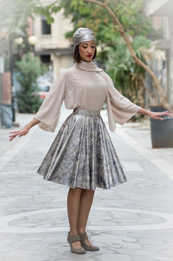 skater skirt midi  high waist in silver by paraskeloufashion