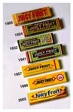 1893: JUICY FRUIT. Yet another product to come out of the Columbian Exposition, William Wrigley Jr. brought his new flavor to the fair. The company is still in Chicago today.