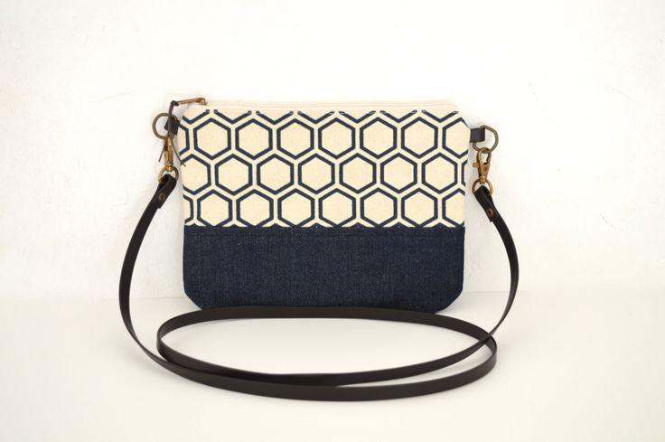 Small canvas crossbody, Printed cross body bag, Leather strap shoulder bag, zippered crossbody bag, geometric bag by UMEHARAKABAN on Etsy