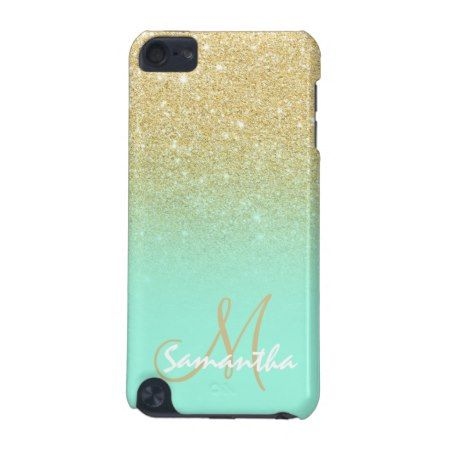 Modern gold ombre mint green block personalized iPod touch 5G case - tap, personalize, buy right now!