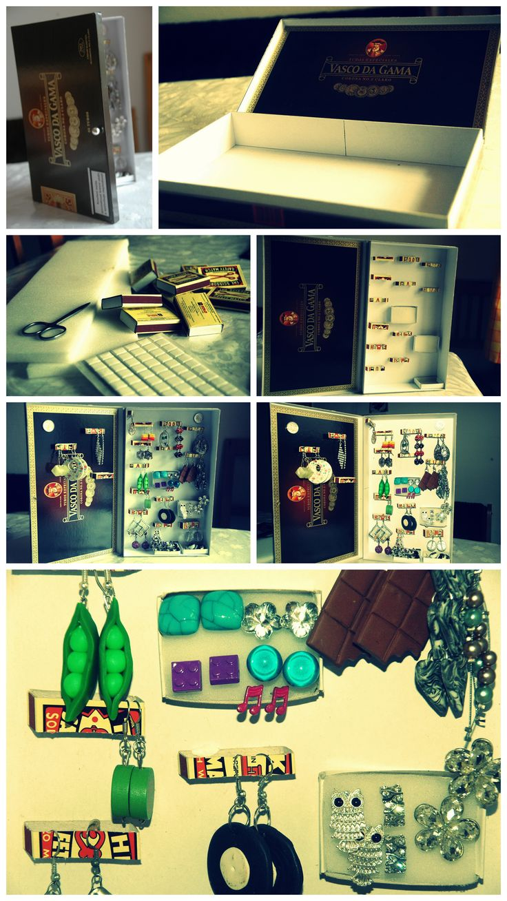 Z obyčejné krabičky od doutníku krásná šperkovnice na naušničky :)
