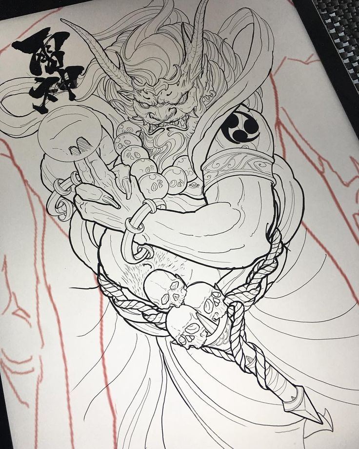 Sketch For A Japanese Sleeve: 59 Best Raijin And Fujin Images On Pinterest