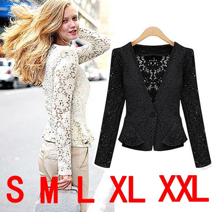 2014 new fashion women lace jacket v-neck One Button hollow out coat Short Outerwear plus size free shipping US $9.99