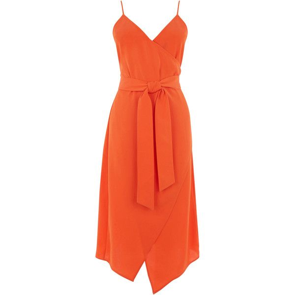 WRAP CAMI DRESS ($78) ❤ liked on Polyvore featuring dresses, slip camisole, orange long dress, long wrap dress, slip dresses and camisole slip