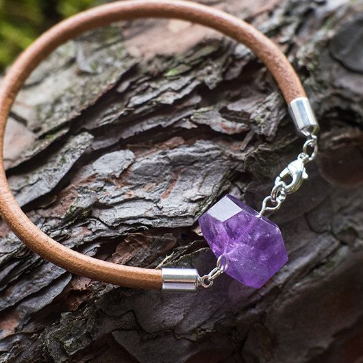 Leather amethyst bracelet / natural gemstone / by MyROCKandSOUL