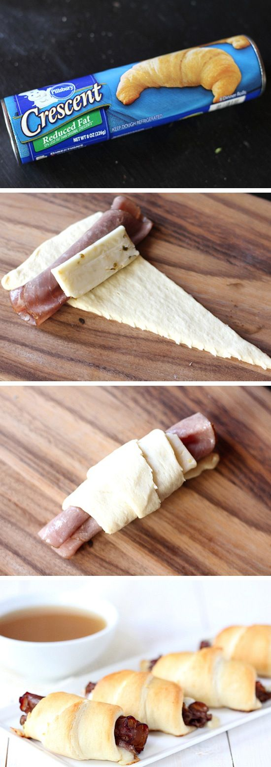 French Dip Crescent Rolls | Recipe By Photo. Purpose of this pin is just to show how easy and quick you can create a fancy appetizer, etc. Use the crescent roll and roll it around anything... my fav is around asparagus spears, but def pieces of cooked chicken, or fresh fruit, etc. Unlimited possibilities!!!