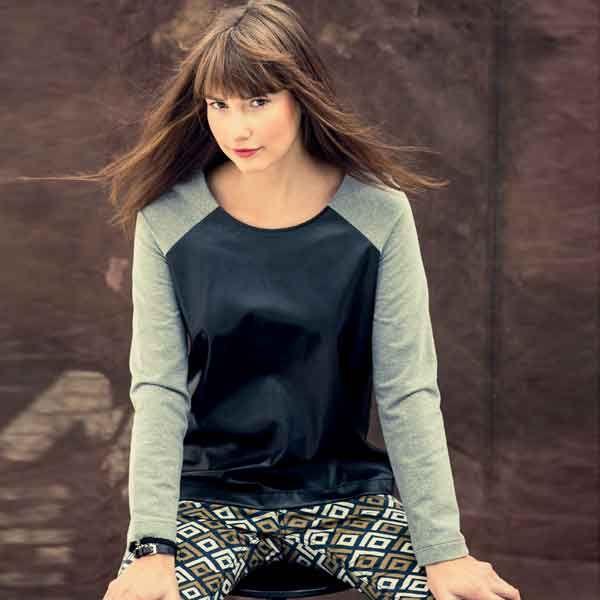 Zelf een trui met leer maken? Bestel het Knipmode naaipatroon voor slechts 9,95. Ontvang het thuis per post en ga direct aan de slag!
