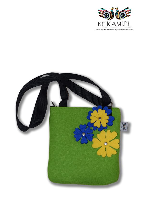 Filcowa listonoszka, zielona z żółtym kwiatem