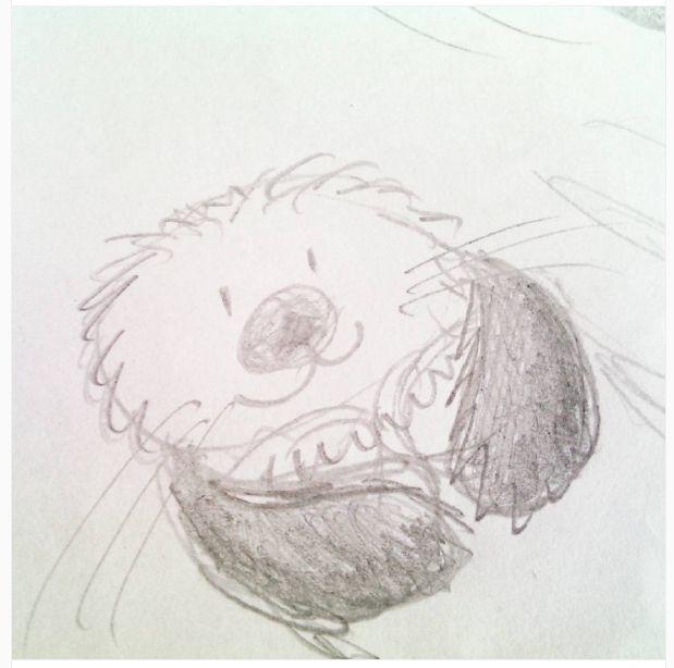 Schetsje van een zeeotter, voor een serie schilderijen voor de babykamer!