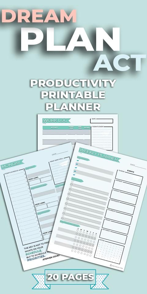 Dream Plan Act Productivity Planner Printable + 2019 Planner Best