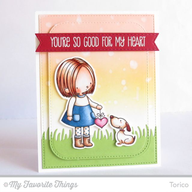 You Have My Heart stamp set and Die-namics, Grassy Edges Die-namics, Stitched Rounded Rectangle STAX Die-namics, Stitched Fishtail Flag STAX Di-namics - Torico #mftstamps