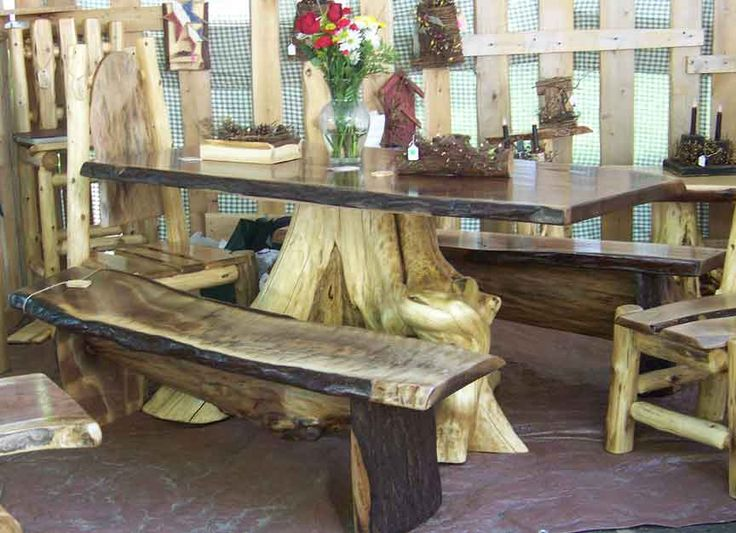 High Quality Walnut Log Table With Stump Leg And Benches