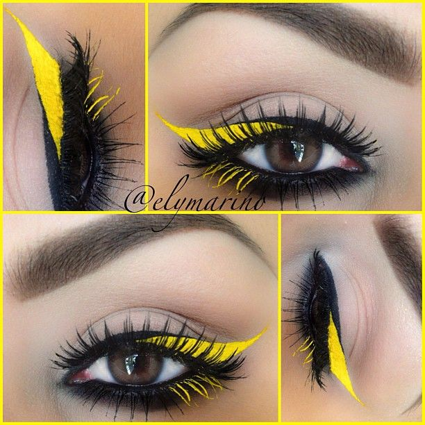 Yellow eyeliner #vibrant #smokey #bold #eye #makeup #eyes: Beautiful Makeup, Makeup Inspiration, Eye Makeup, Bright Eyeshadows, Wings Eyeliner, Wings Liner, Black And Yellow Eyeshadows, Makeup Ideas, Eyemakeup