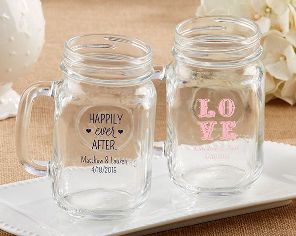 These personalized mason jar mugs are the perfect addition to your wedding. Featuring easy-to-hold handles, these mason mugs are great as favors or as reception decor. With over 50 designs to select from, you'll find a style to fit your special day.