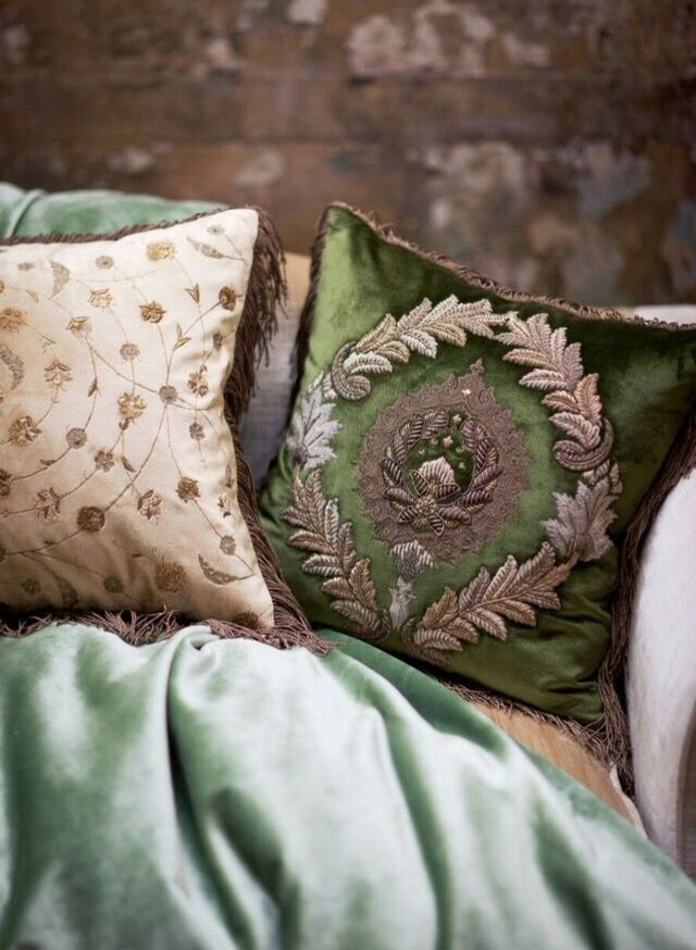 Rossini and Boccaccio cushions on Capri velvet - Beaumont & Fletcher