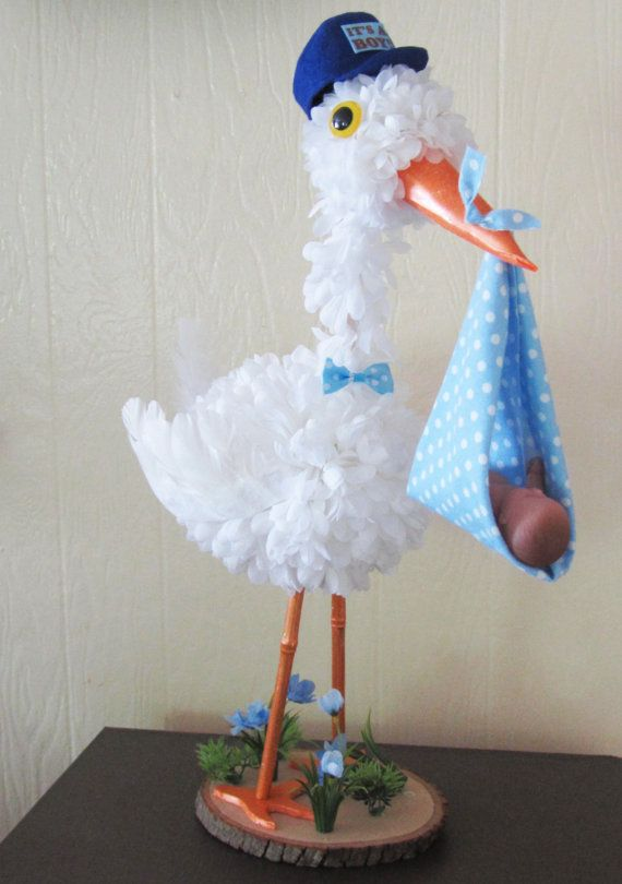 Stork centerpiece baby boy stork centerpiece unique baby for Baby shop decoration ideas