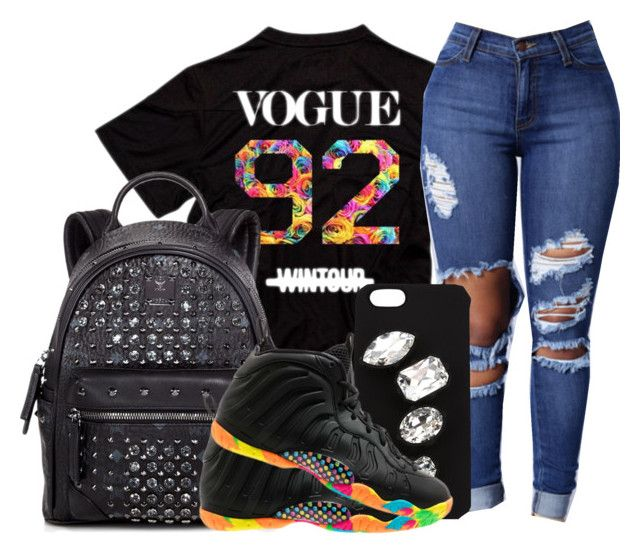 """""""Black fruity pebble foamposites"""" by zoelh178 ❤ liked on Polyvore featuring MCM and STELLA McCARTNEY"""