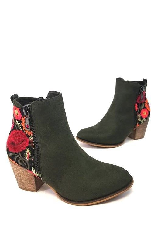 9420c1a30f04 Black Floral Embroidered Booties Ankle Shoes Suede Low Heels Boots Women  Flower  Unbranded  FashionAnkle  Casual