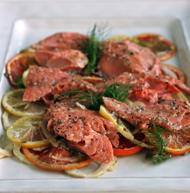 Slow-roasted salmon with fennel, blood orange, and chiles | eat it ...