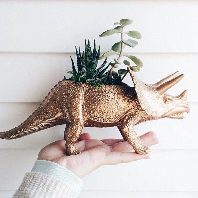 #flowerpot #plantpot  #pot  #plant #dinosaur #corwnflorastudio #golden  #nature  #plants #funny