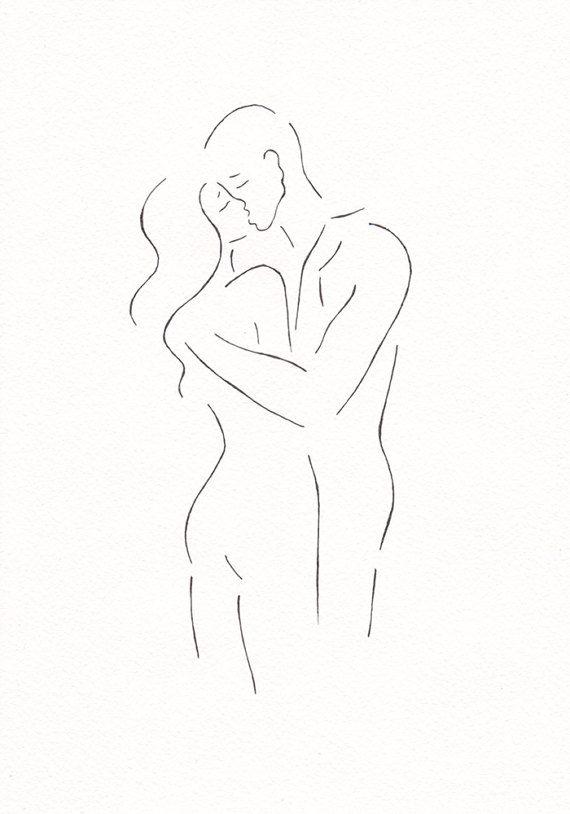 Dessin au trait original. Croquis de baiser minimaliste. Art