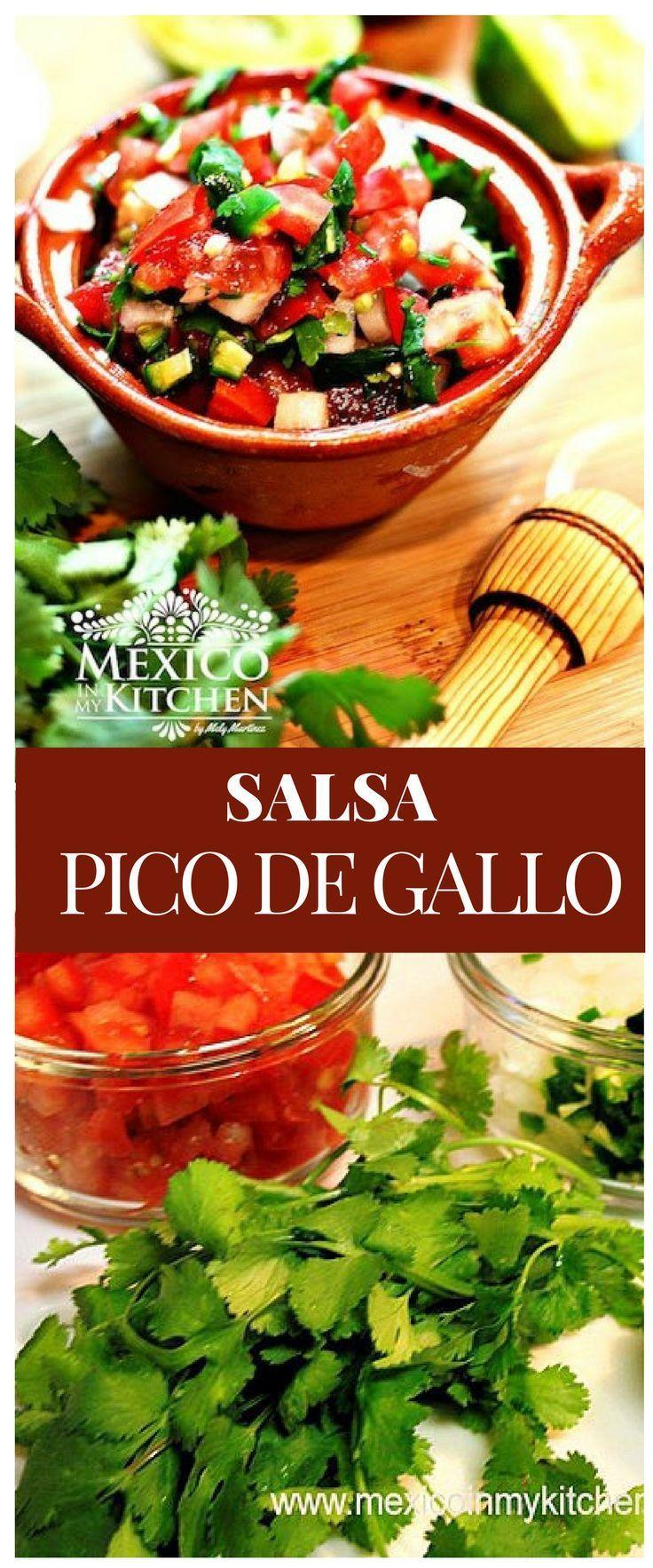 Salsa Pico de Gallo Esta es receta salsa de pico de gallo es muy popular para las carnes o pollo asado, tacos y otros antojitos mexicanos #mexico #cocina #gallo #salsa
