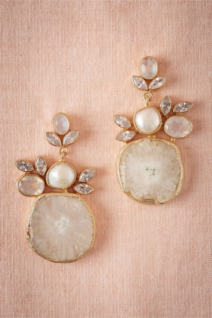 Vintage pearl drop gold earrings bocheron pearl earrings gold - Druzy Drop Earrings From Bhldn The Organic Shapes Combine Beautifully With The Traditional Pearls And