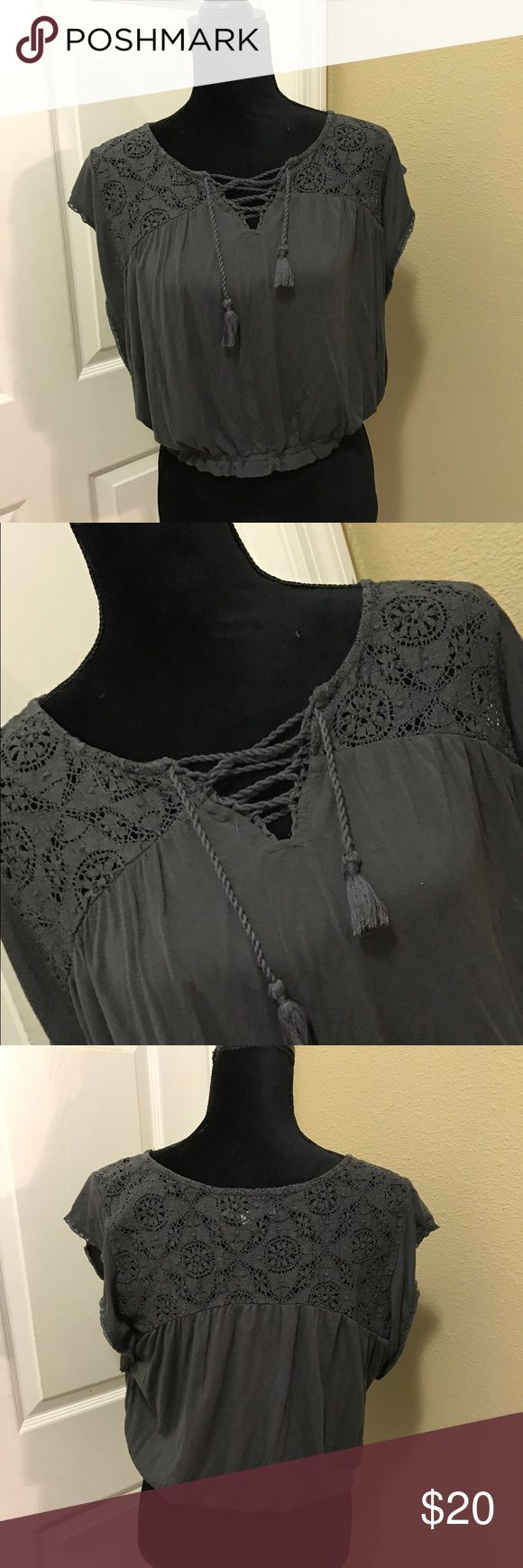 Navy Blue Blouse American Eagle Navy Blue Size Large American Eagle Outfitters Tops Blouses