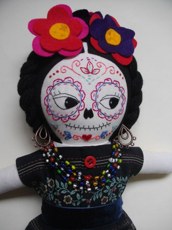 DAY of the DEAD Frida Kahlo Mexican sugar skull cloth doll art doll rag doll - Made to Order