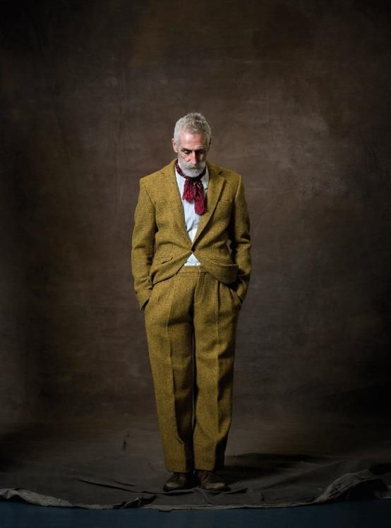 Scottish playwright, theatre designer and artist John Byrne in Harris Tweed suit designed by Deryck Walker. Image © David Eustace.