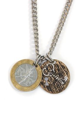 American Coin Treasures Silver  Gold  Bronze French Franc With Sterling Silver Lock and Key Mens Necklace