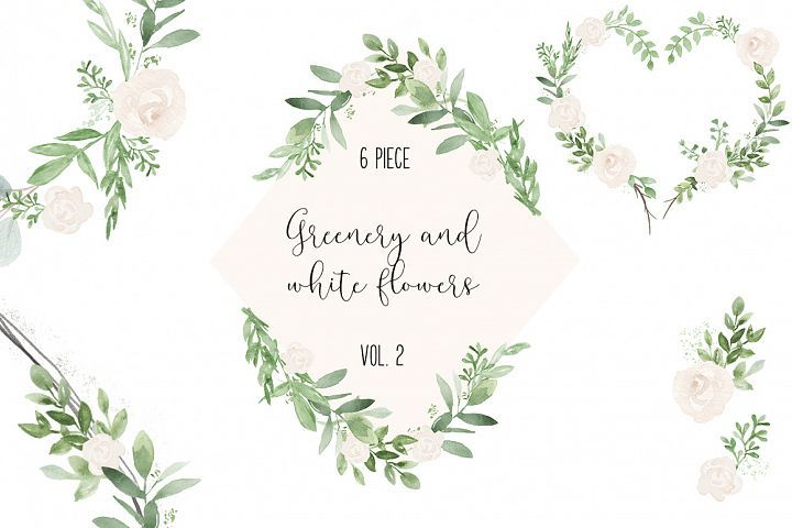 Greenery And White Wedding Watercolor Clip Art Illustrations