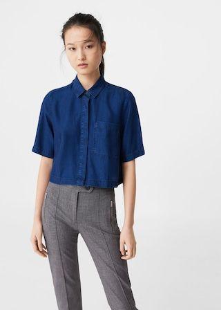 Denim tencel® shirt -  Woman   MANGO United Kingdom