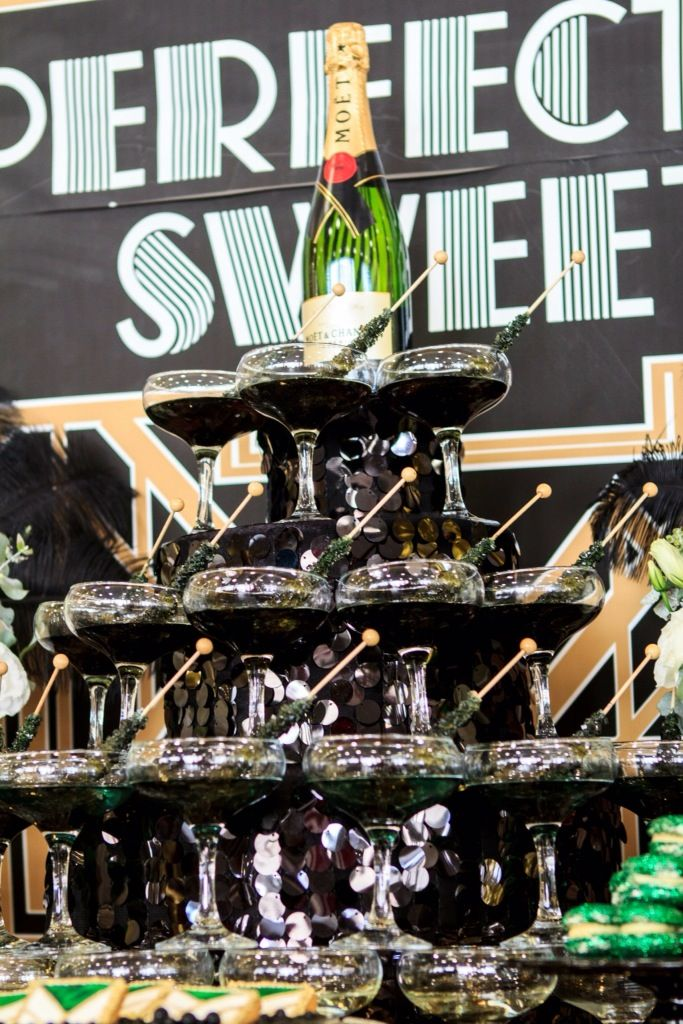 Rock candy crystal sticks add a sweet touch to your champagne