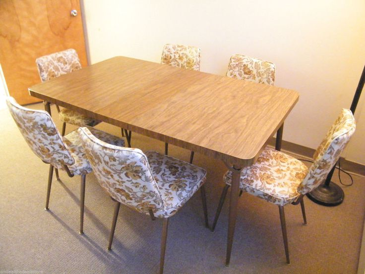 Vintage 1960s formica wood kitchen table leaf w 6 floral vinyl chairs retro vinyls kitchen - Retro formica table and chairs ...