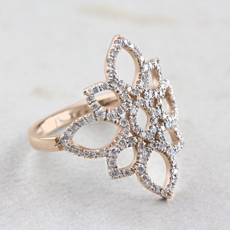 Lotus Flower Ring, Rose Gold Engagement Ring, 0.5 CT Diamond Ring, Cluster Ring, Art Deco Enagement Ring, Lace Ring by SillyShinyDiamonds on Etsy https://www.etsy.com/listing/205814548/lotus-flower-ring-rose-gold-engagement