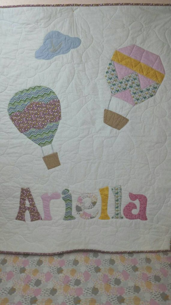 Perdonalized Quilt, Baby Quilt - Crib Bedding - Toddler Bedding - Personalized Hot Air Balloon - Nursery- Childrens Bedding - Toddler Bedding -