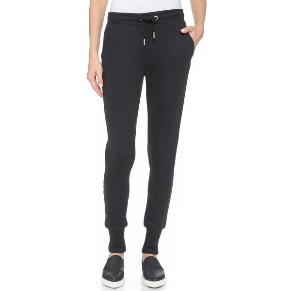 Zoe Karssen Slim Fit Sweatpants featuring polyvore, fashion, clothing, activewear, activewear pants, pirate black, drawstring sweatpants, black sweat pants, sweat pants, slim sweatpants and black sweatpants