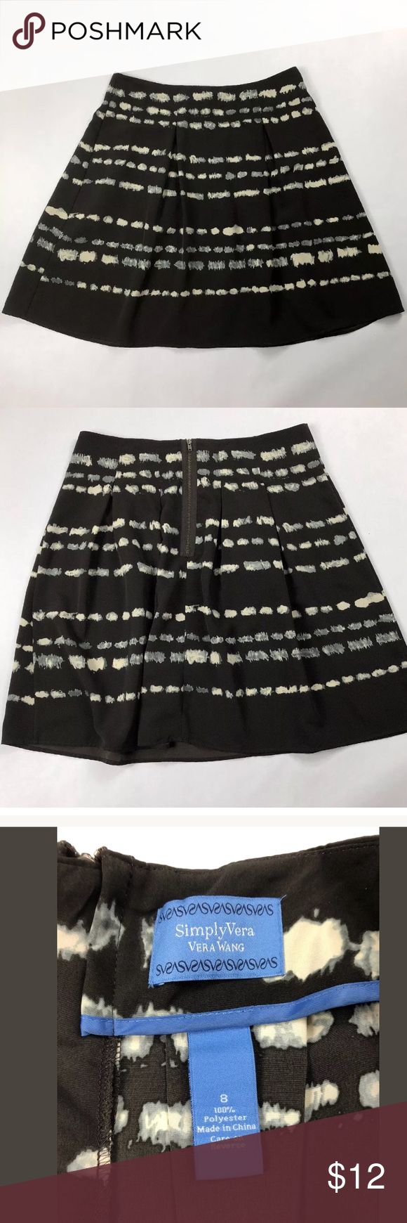 Simply Vera Wang Women's Skirt size Small A line Simply Vera Wang Women's Skirt size Small A line Brown  RN 121973 100% polyester  no holes or stains  waist inches length: 21 inches    J Simply Vera Vera Wang Skirts A-Line or Full