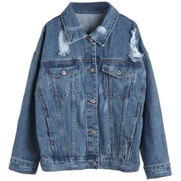 Choies Blue Loose Distressed Denim Jacket and other apparel, accessories and trends. Browse and shop related looks.
