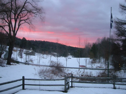Winter sunset in Vermont from the bedroom window