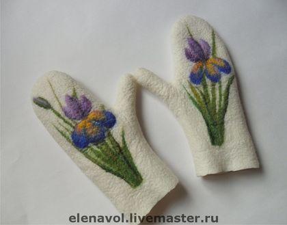 """Варежки, митенки, перчатки ручной работы. Ярмарка Мастеров - ручная работа. Купить Варежки """"Ирисы"""". Handmade. Варежки, цветочный"""