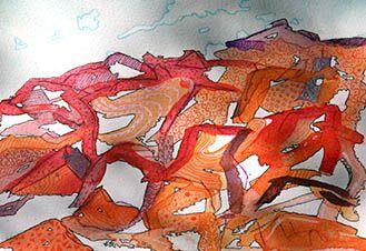 Zentangle Rocks Illara (Illarari), Central Australia  Ink and pen by Jennifer O'Hara