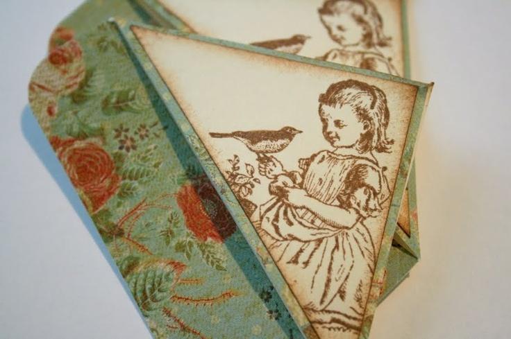 Handmade Bookmarks - Corner Style Girl and Bird - Set of 2. $4.50, via Etsy.